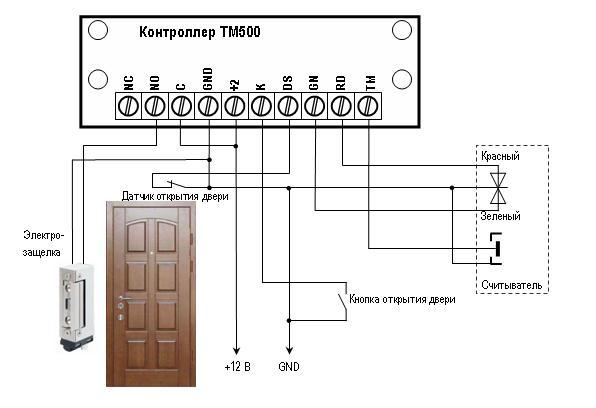 Схема подключения   контроллеров ТМ-62 и ТМ-500 с электромеханической защелкой