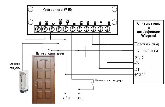 Схема подключения   контроллеров W-50 и W-400 с электромеханической защелкой